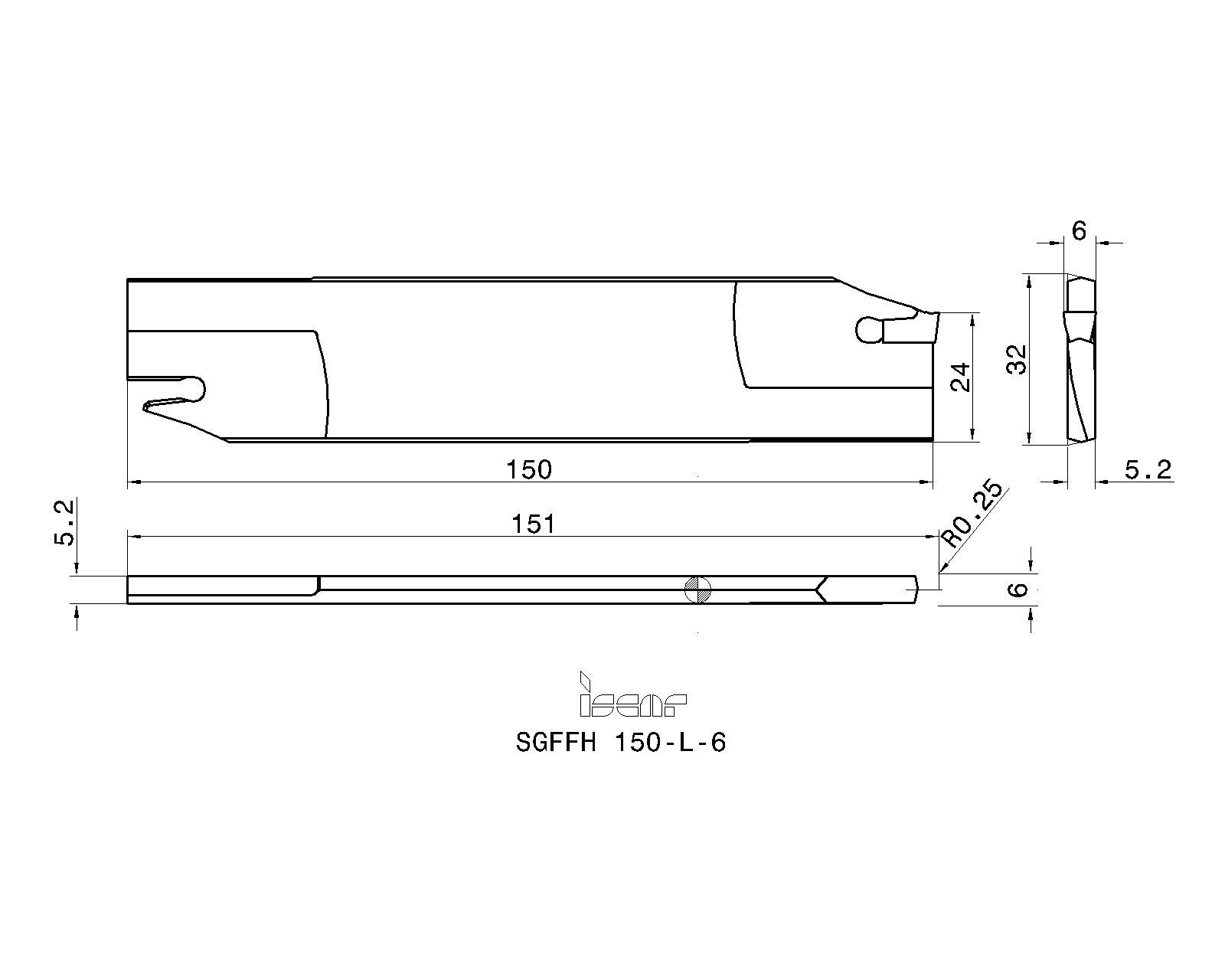 Iscar SGFFH-L-6 Self-Grip Face Grooving Blade 2300327