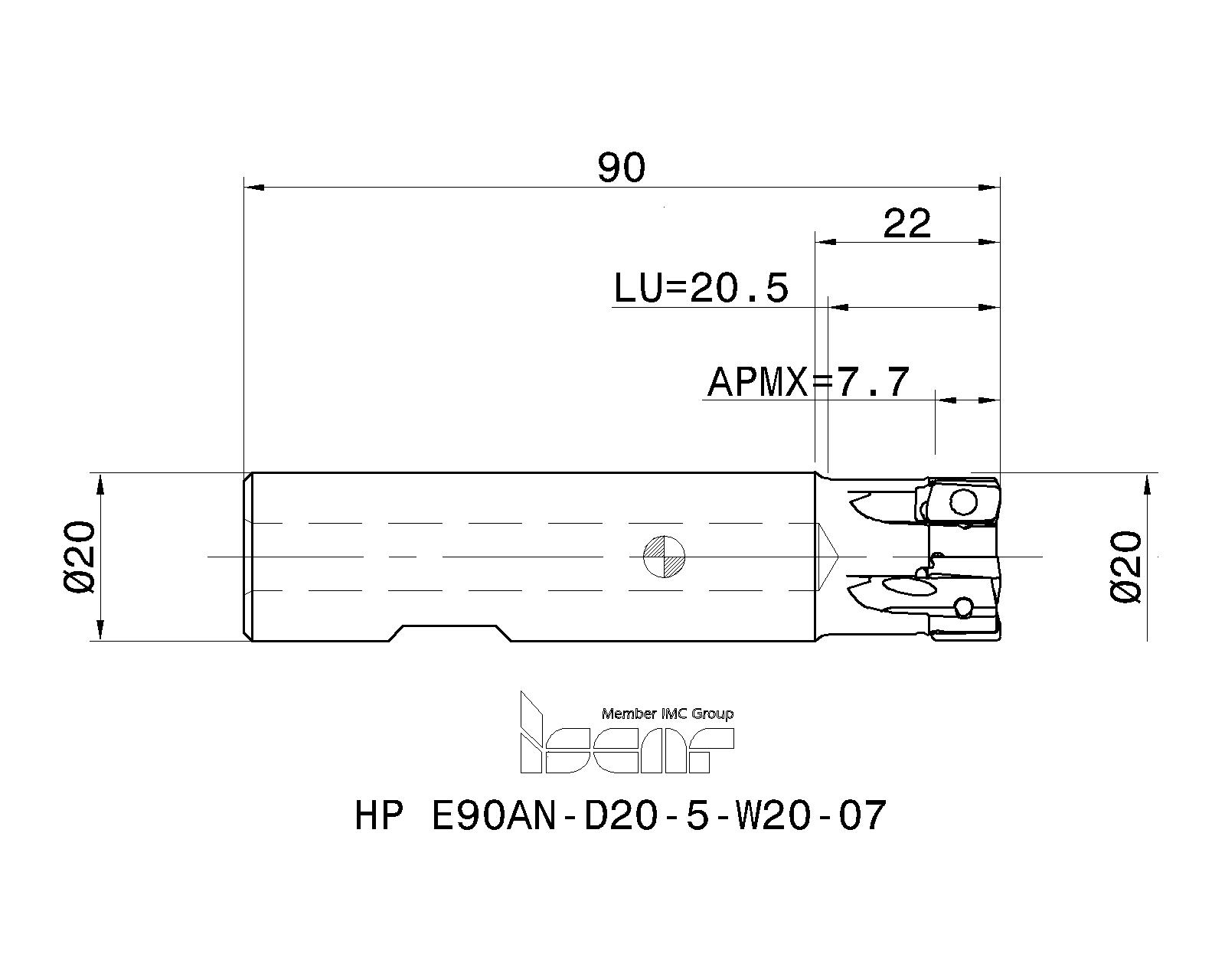 ISCAR Cutting Tools - Metal Working Tools - HP E90AN-07 : 3103887