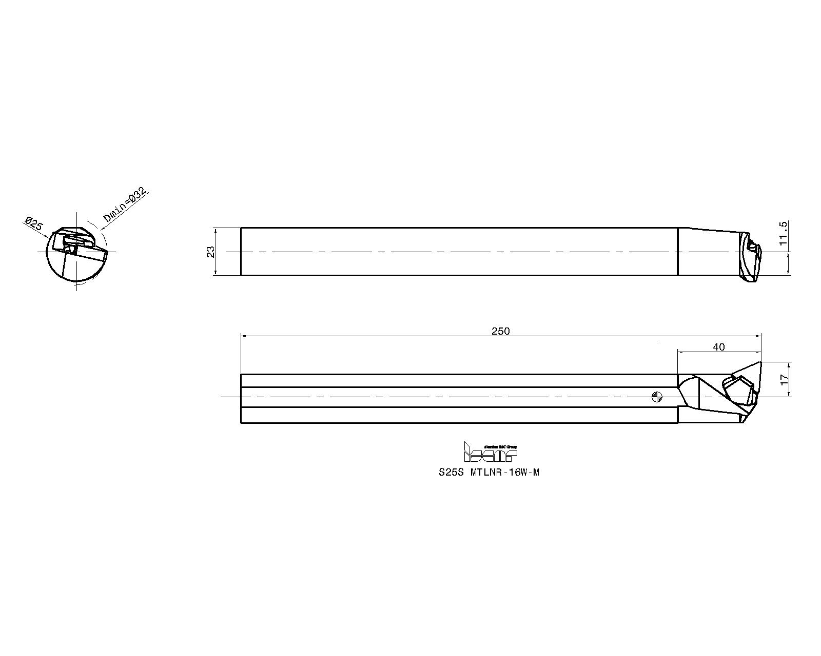 Mitsubishi Materials S16-STHNL-3 S-STHN Series Internal Threading Boring Bar 1.250 Cutting Dia Left 10 Length 1 Shank Dia