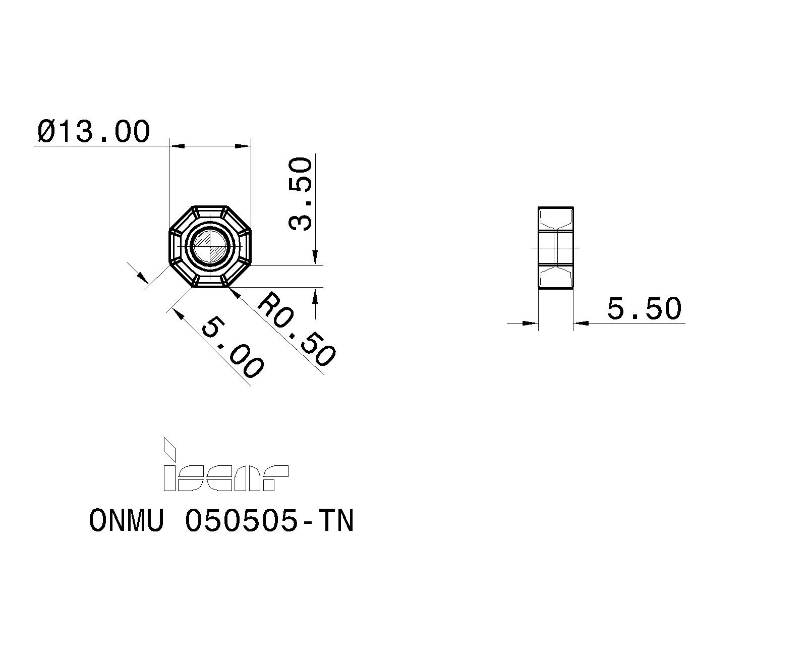 Iscar ONMU 050505-TN-MM IC4050 Double Octagon Face mill carbide insert 10pc