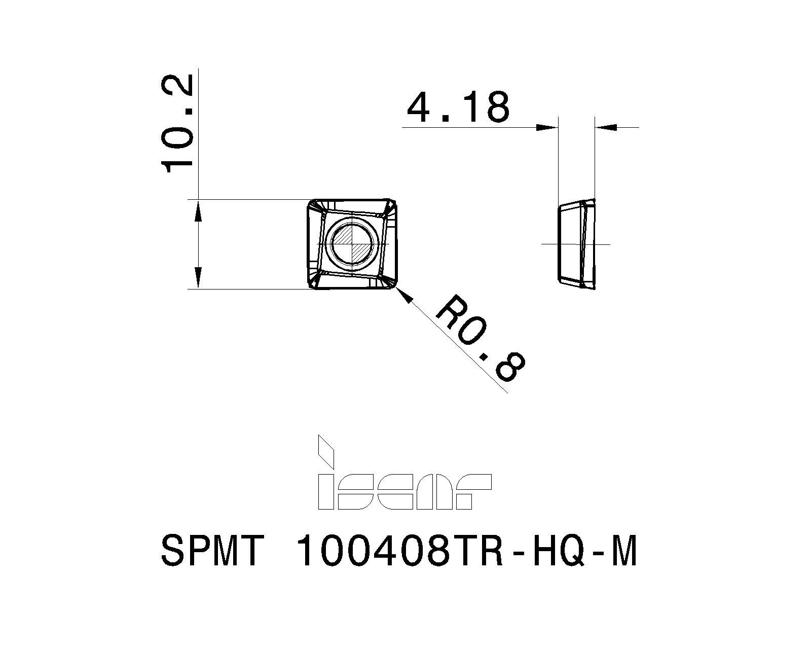 Iscar SPMT 100408TR-HQ-M IC908 Carbide Inserts 10Pc