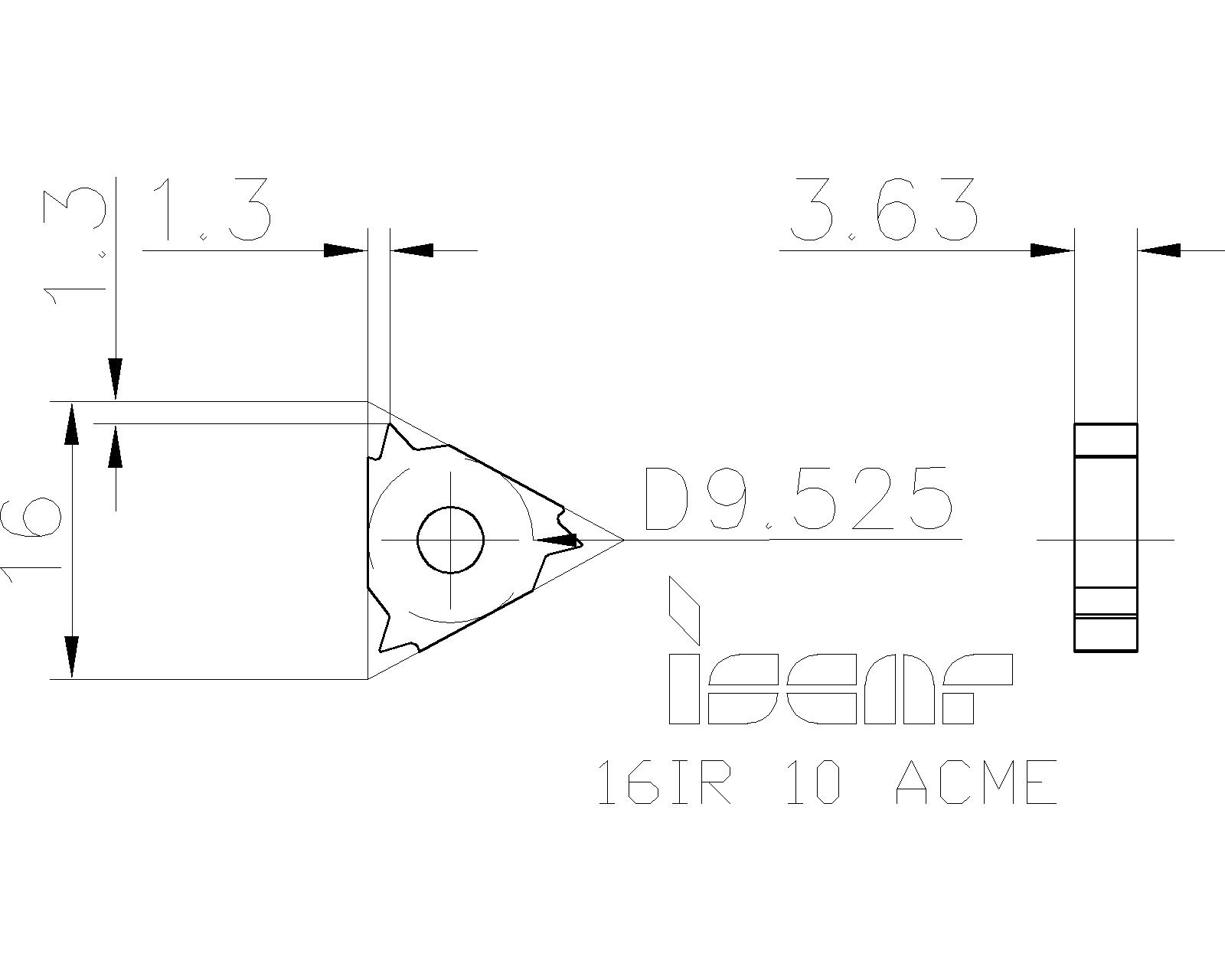 Length: 22mm Internal 22 IR6 ACME P25C Pitch: 6 TPI Pack of 5 inserts. ACME Threading Inserts I.C.: 1//2