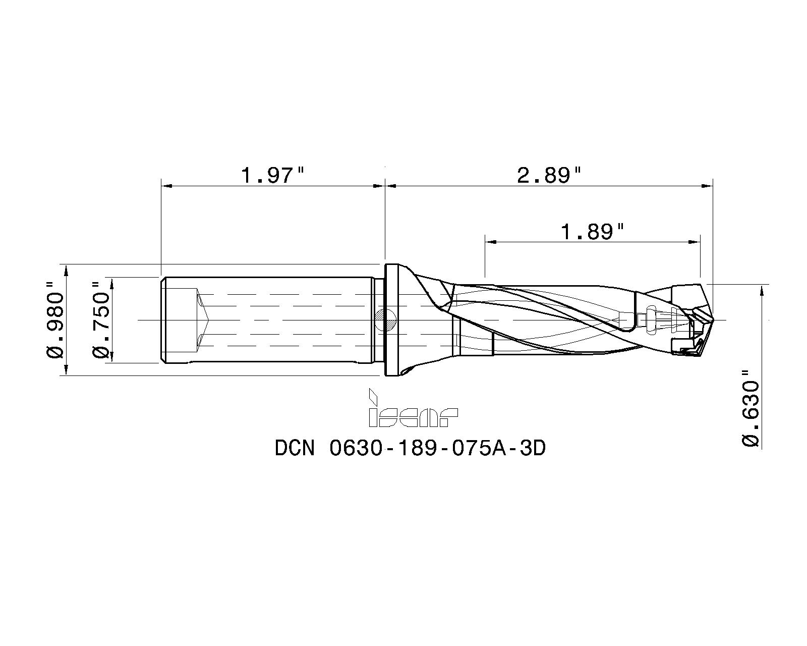 """LOC1153A Iscar 5//8/"""" Replaceable Tip Drill 3//4/"""" Shank DCN 0630-189-075A-3D"""