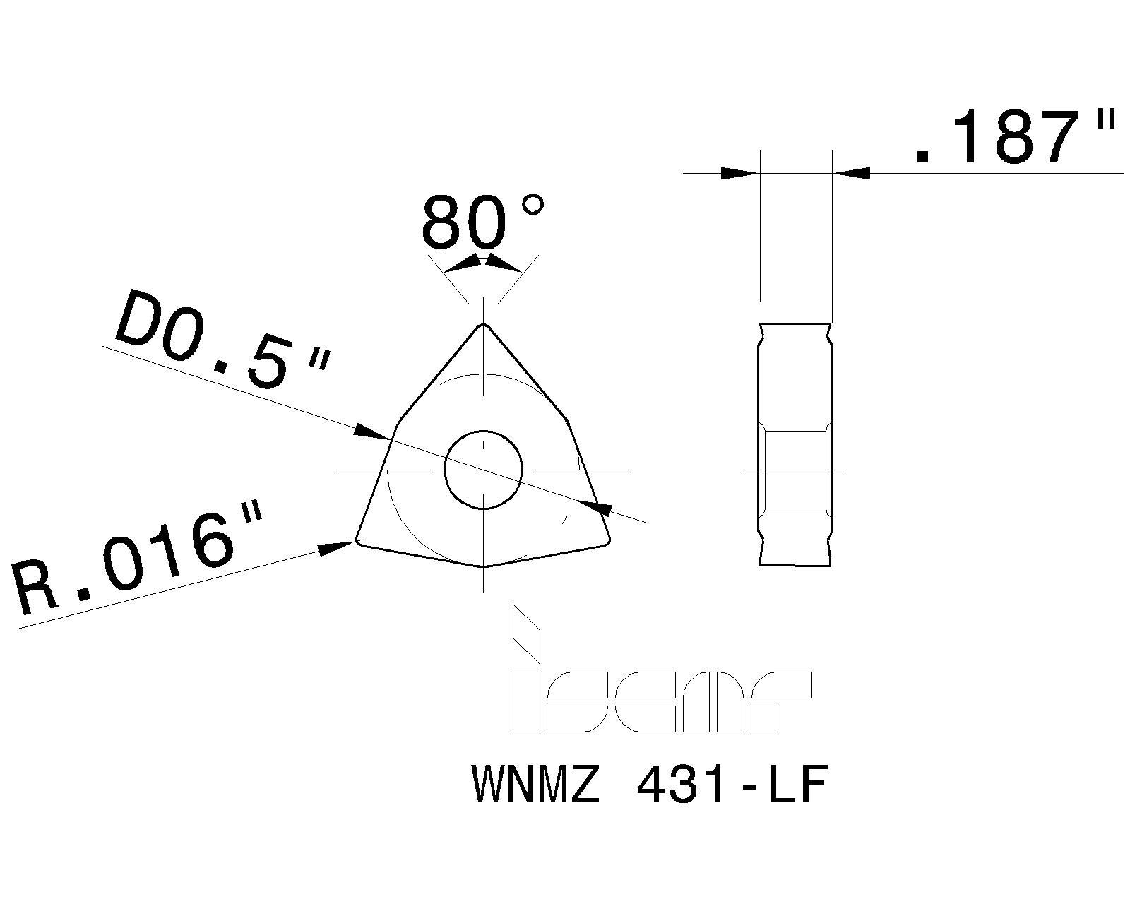 WNMZ 431 LF IC570 ISCAR INSERT
