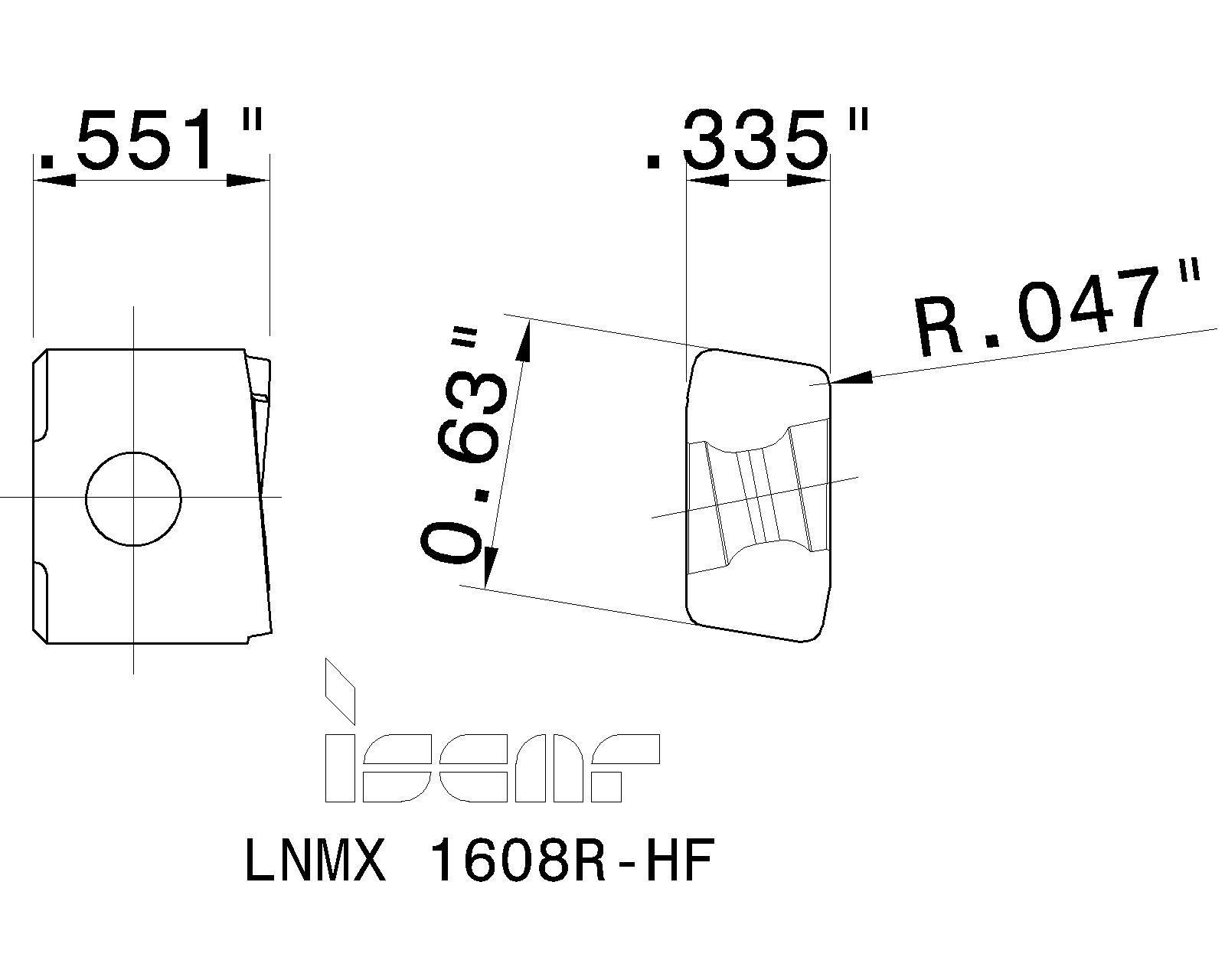 LNMX 1608R-HF IC9150  ISCAR INSERTS
